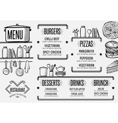 Menu restaurant food template placemat vector