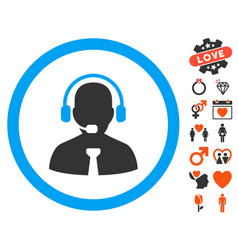 support manager icon with dating bonus vector image