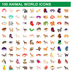 100 animal world set cartoon style vector image