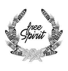 free spirit feathers with flowers ornament vector image