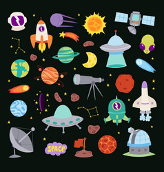Astronomy icons stickers set astronaut vector