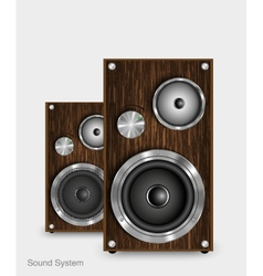 Wooden two way audio speaker vector