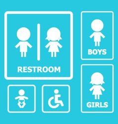 Restroom sign set vector