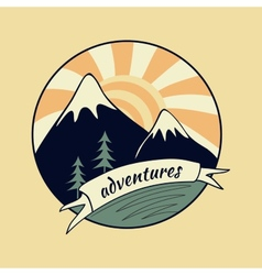 Colored vintage adventure label vector