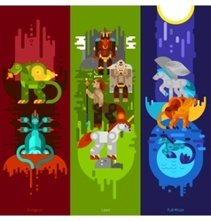Mythical creatures banners vertical vector