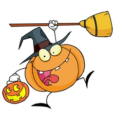 Halloween happy pumkin with a broom vector