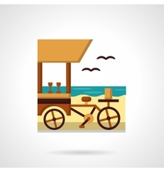 Beach drinks shop flat color design icon vector