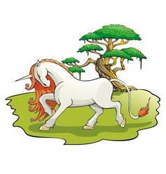 Mythical Unicorn in the enchanted forest vector image