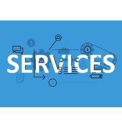 Services concept flat line design with icons and vector