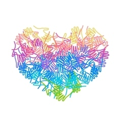 People colorful hands united together in heart vector