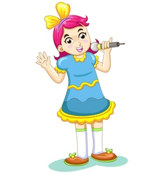 Cartoon Singing Girl vector image vector image