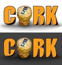 Champagne cork circle logo gray background vector