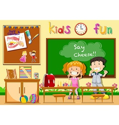 Children being happy in classroom vector
