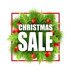 Christmas sale design with holly vector image vector image