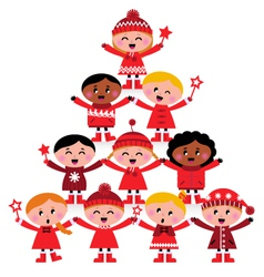 christmas tree of kids vector image vector image