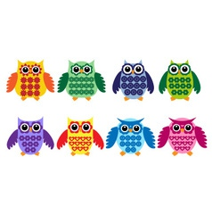 Colorful owls vector