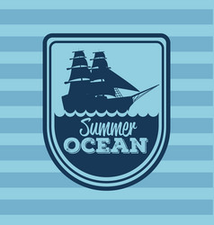Colorful stripe background with logo summer ocean vector