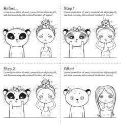 cute facial treatment monochrome instruction girl vector image