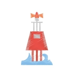 Drawing red marker buoy ocean light navigation vector