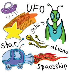 Drawn colored alien vector