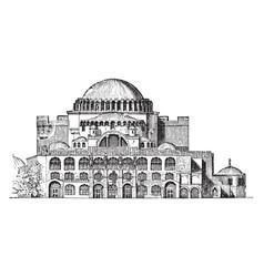 Exterior of hagia sophiat imposing vintage vector