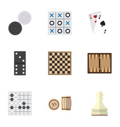 Flat icon entertainment set of chess table pawn vector