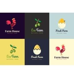 Fresh farm logos set labels for urban vector