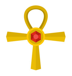Golden ankh symbol icon isolated vector