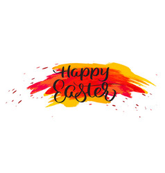 happy easter text on watercolor red blots hand vector image vector image