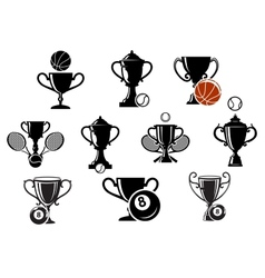 Isolated sporting trophy icons set vector image vector image