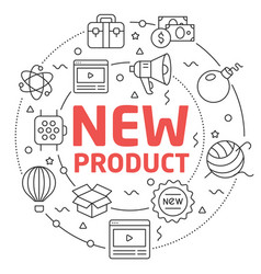 Line flat circle new product vector