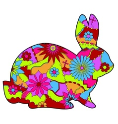 Rabbit in easter colors 2 vector image vector image