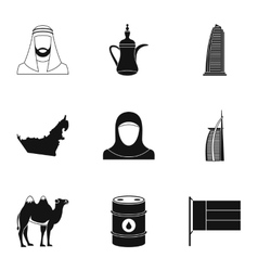 State of uae icons set simple style vector