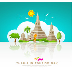 thailand tourist landmarks background vector image vector image
