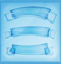Transparent glass or crystal banners and ribbons vector