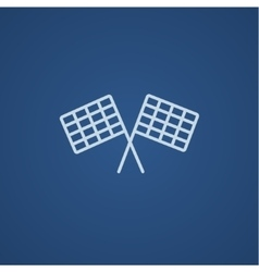 Two checkered flags line icon vector