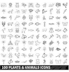 100 plants and animals icons set outline style vector