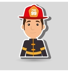 Man fire helmet mask vector