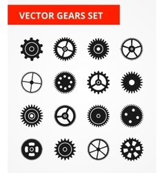 Gear icon set isolated gears - vector
