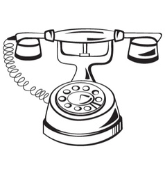 Black and white contour phone vector image