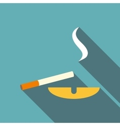 Cigarette and ashtray icon flat style vector image