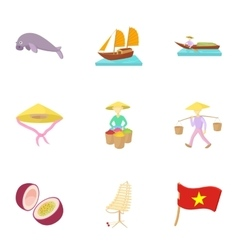 Holiday in vietnam icons set cartoon style vector