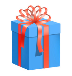 Blue gift box with red ribbon icon flat style vector