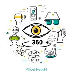 Virtual eyesight - line art vector