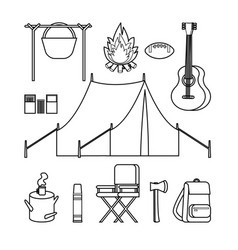Hand drawn backpacking icons set vector