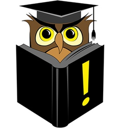 Wise owl reading black book vector