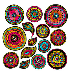 Set of zentangle elements indian patterns vector