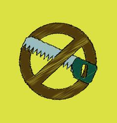 flat shading style icon no saws vector image