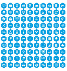 100 network icons set blue vector image