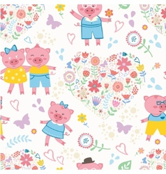 Seamless pattern with cute pigs vector image